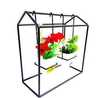 OKASHA Black Color Decorative Metal Stand Showpiece For Home And Office With 2 Artificial Rubber Plant in Plastic Pot
