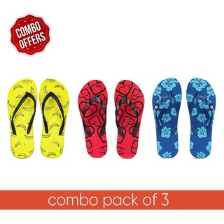 Feet First Women Multicolor Flip Flops - Pack of 3