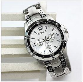New fashion Rosra Round Dial Silver Metal Strap Mens Quartz Watch