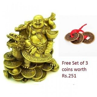 Divya Tantra Laughing Buddha Sitting on Dragon Tortoise for good luck free Lucky coins