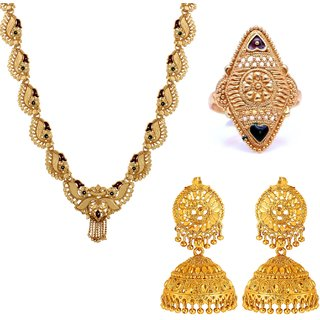 Goldnera Wedding Wear Necklace With Pair Of Jhumka Earrings And Gold Plated Adjustable Ring For Women/Girls