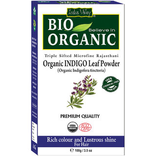 Indus Valley BIO Organic INDIGO HENNA (Indigofera Tinctoria) with Color Recipe Book