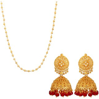 Goldnera Wedding Gold Plated Jewellery Set Matar Mala Long Chain With Traditional Golden Jhumka For  Women/Girls
