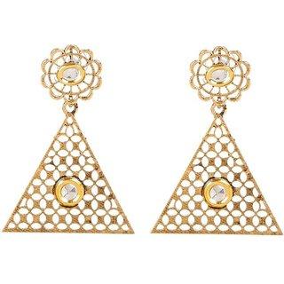 GoldNera 18K Goldplated Kundan Cutwork Alloy Dangle Earring-GEMarch16F0201
