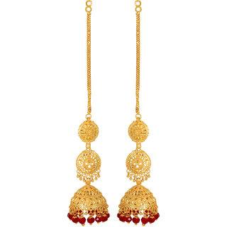Gold Plated Red Beaded Jhumki Long Earrings by GoldNera-GoldNerajhumki2