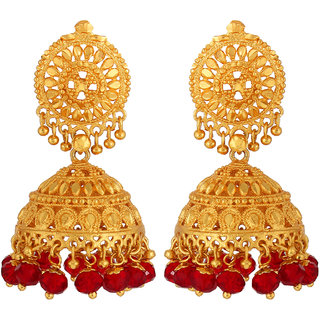 Goldnera Big Size Gold Jhumki Artificial Gold Jumki Red Crystal Ethnic Heavy 5 Cm Long Traditional Design Wedding Party Wear Gift For Women Girls Copper, Brass Jhumki Earring