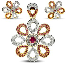 Djewels Ruby Diamond Traditional Pendant Set
