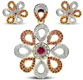 Djewels Ruby Diamond Traditional Pendant Set