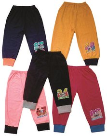 Om Shree Cotton Multicolor Track Pants For Kids (0-5 Years) - Set Of 5