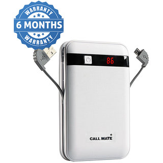 Callmate Power Bank Black Border in Built Charging Cable 13000 mah   White   6 Months Warranty Power Bank