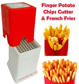 Smartshop16 White Plastic Choppers & Dicers Finger Potato Chips & French Fries Cutter