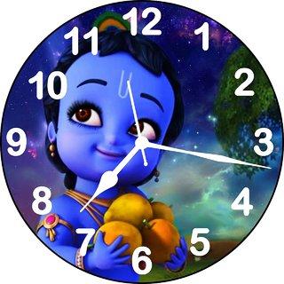 3d krishna with fruit wall clock