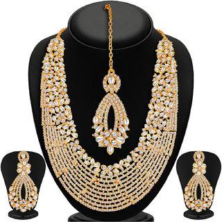 Sukkhi Kritika Kamra Dazzling Gold Plated Australian Diamond Wedding Necklace Set