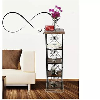 Onlineshoppee Wood Iron Book  cum End table 4Shelves(LxBxH-11.5x9.5x40.5)Inch