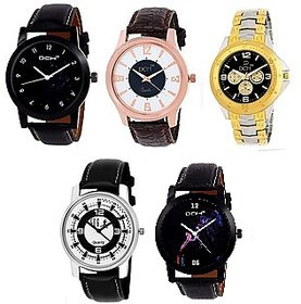 DCH Round Dail Multi Leather StrapMens Quartz Watch For Men