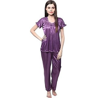 757d5c4f42 Buy  rk Hot women Satin Top and Pajama.Night wear