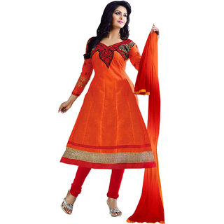 Florence Orange Music Combric Cotton Embroidered Suit (Unstitched)