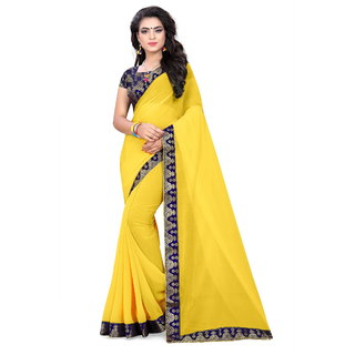 78b1315d036 Buy Shree Womens Chiffon Yellow Saree With Blouse Piece Online ...