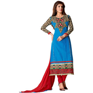 Florence Firozee Blue Queen Embroidered Pure Cotton Suit (Unstitched)