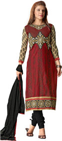 Florence Maroon Queen Embroidered Pure Cotton Suit (Unstitched)