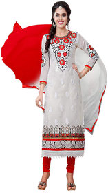 Florence White Gouri Embroidered Chanderi Cotton Suit (Unstitched)