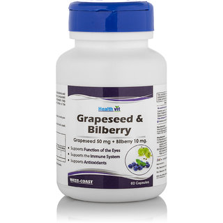 Healthvit Grape Seed Extract And Bilberry Extract Supplement (60 Capsules)