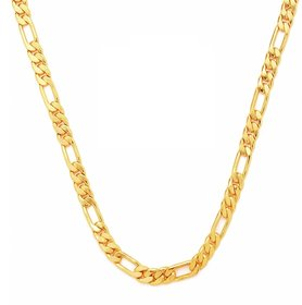 GoldNera Gold Plated 18 Inches Long Interlocked Chain Necklace For Men