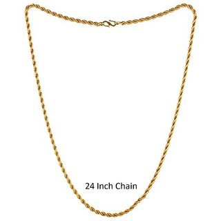 Gold Plated Artificial Men Chain Golden Twisted 24 Inch Heavy Party Wear Wedding Wear Real Gold Look Chain For Boys Gift For Him Gold-Plated Plated Brass Chain