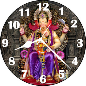 3D Purple Analog Round Shri Ganesh Ji Wall Clock