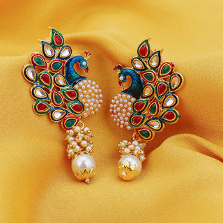 Sukkhi Gold Plated Multicolor Alloy Studs for Women
