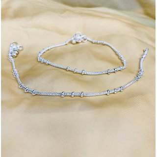 Sparkling Jewellery Sterling Silver Silver Plated Silver Designer Pair Of Anklets For Women