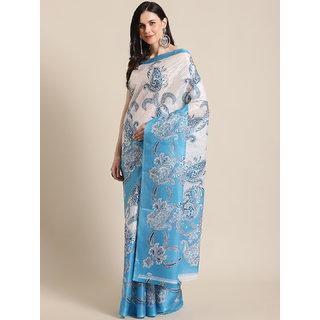 Svb Sarees Taffeta Block Print Art Silk Blue Saree Without Blouse Piece