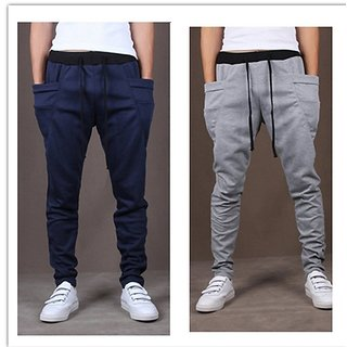 Exasize Blue And Grey Cotton Lycra Running Track pants For Men Pack of 2 NR