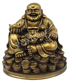 Petrichor Fengshui Laughing Buddha Sitting on Luck Money Coins carrying Golden Ingot for Good luck  Happiness