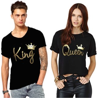 Melcom King And Queen Printed Couple Combo Cotton Tees Black