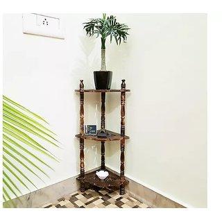 Mini Wooden corner rack side table home dcor carved end table furniture shelves