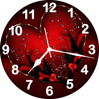 3d red heart 6 wall clock