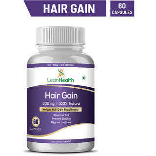 Leanhealth Hair Gain Herbal Hair Management Supplement To Stop Hair Fall and Healthy Hair Growth For Men and Women 60 Capsules