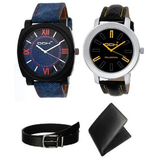 DCH Combo Of 2 Analogue Watches With Black Leatherette Wallet  Belt For Boys  Men