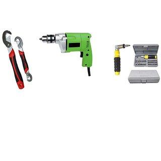 Unique Dealz Store GBT 10mm Drill Machine + 41 Pcs Tool Kit Set + Snap N Grip Wrench Set - DRL41SN
