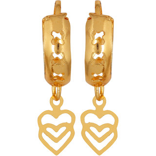 Cute Heart Hooped Hanging Earring Gold Plated for young girls by GoldNera