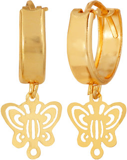 Cute Butterfly Hooped Hanging Earring Gold Plated for young girls by GoldNera