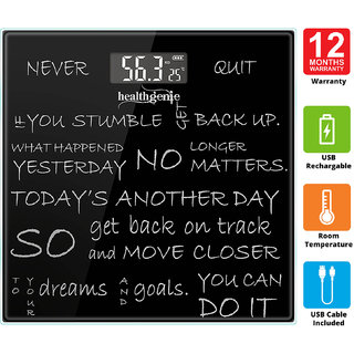 Healthgenie Rechargeable Digital Personal Weighing Scale for Human Body with Room Temperature Display-(Never Quit/Black)