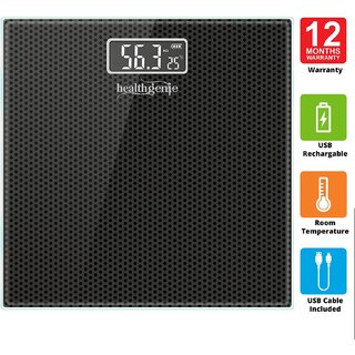 Healthgenie Rechargeable Digital Personal Weighing Scale for Human Body with Room Temperature Display-(Black Dotted)