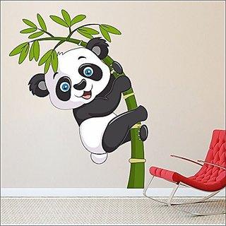Eja Art Baby Panda Covering Vinyl Multicolor Wall Sticker 120 x 95 Cms