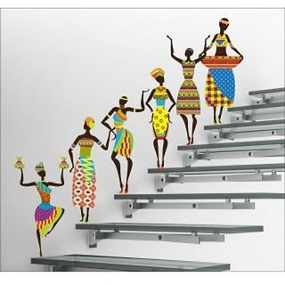 EJA Art PVC Multicolor Abstract Tribal Lady Wall Sticker (60 cm x 180 cm) - Set Of 1