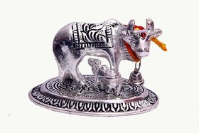 Satya Vipal White Metal Cow And Calf Statue (7x8 Cms)