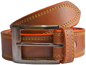 Brown Leatherite Belt With Pin-Hole Buckle
