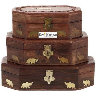 Desi Karigar Set Of Three jewellery boxes with carving  brass work