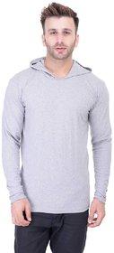 Bi Fashion Men's Grey Hooded Full Sleeve Cotton Plain T-Shirt